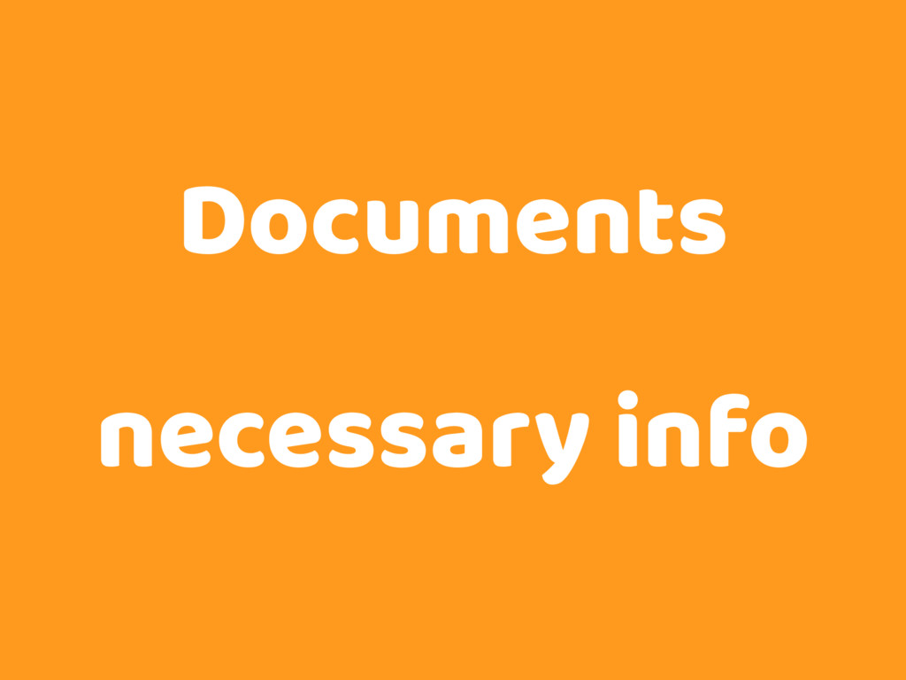 Documents necessary info