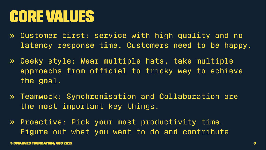 Core Values » Customer first: service with high ...