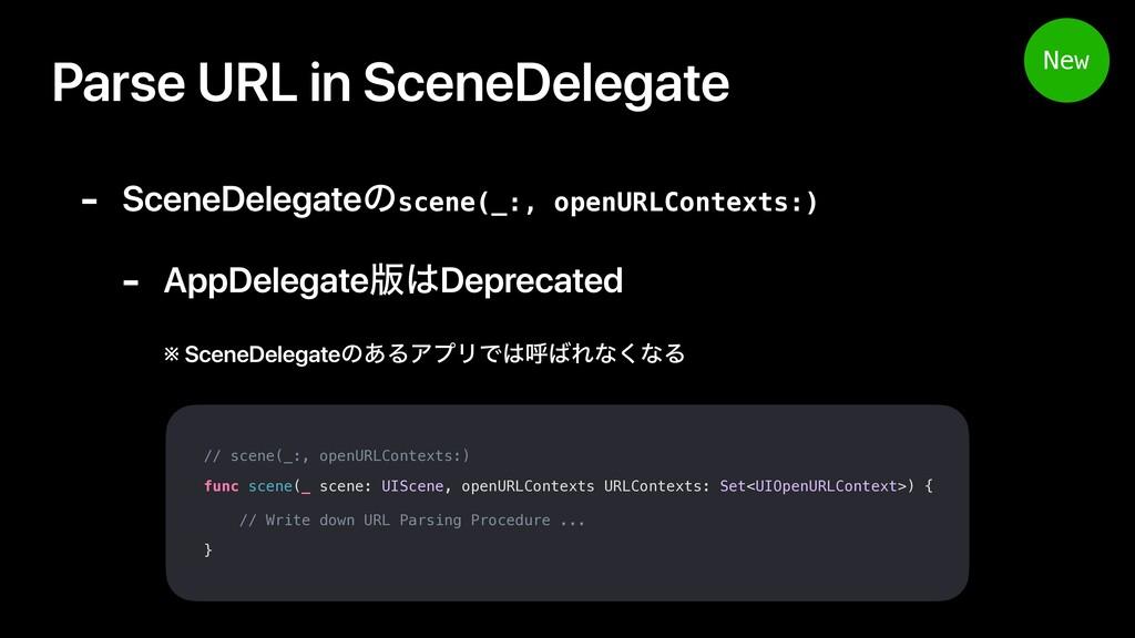 Parse URL in SceneDelegate // scene(_:, openURL...