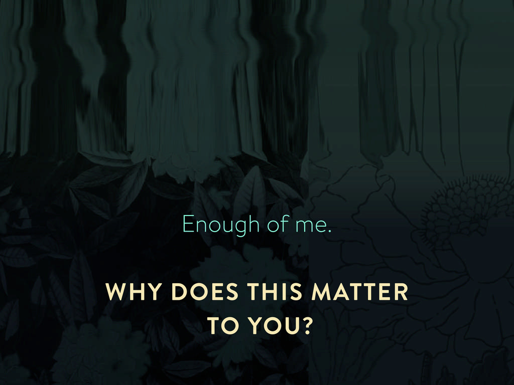 Enough of me. WHY DOES THIS MATTER TO YOU?
