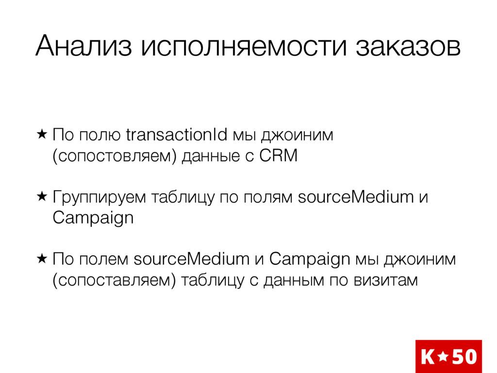 Анализ исполняемости заказов ̣ По полю transact...
