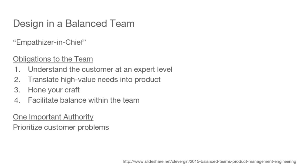 "Design in a Balanced Team ""Empathizer-in-Chief""..."