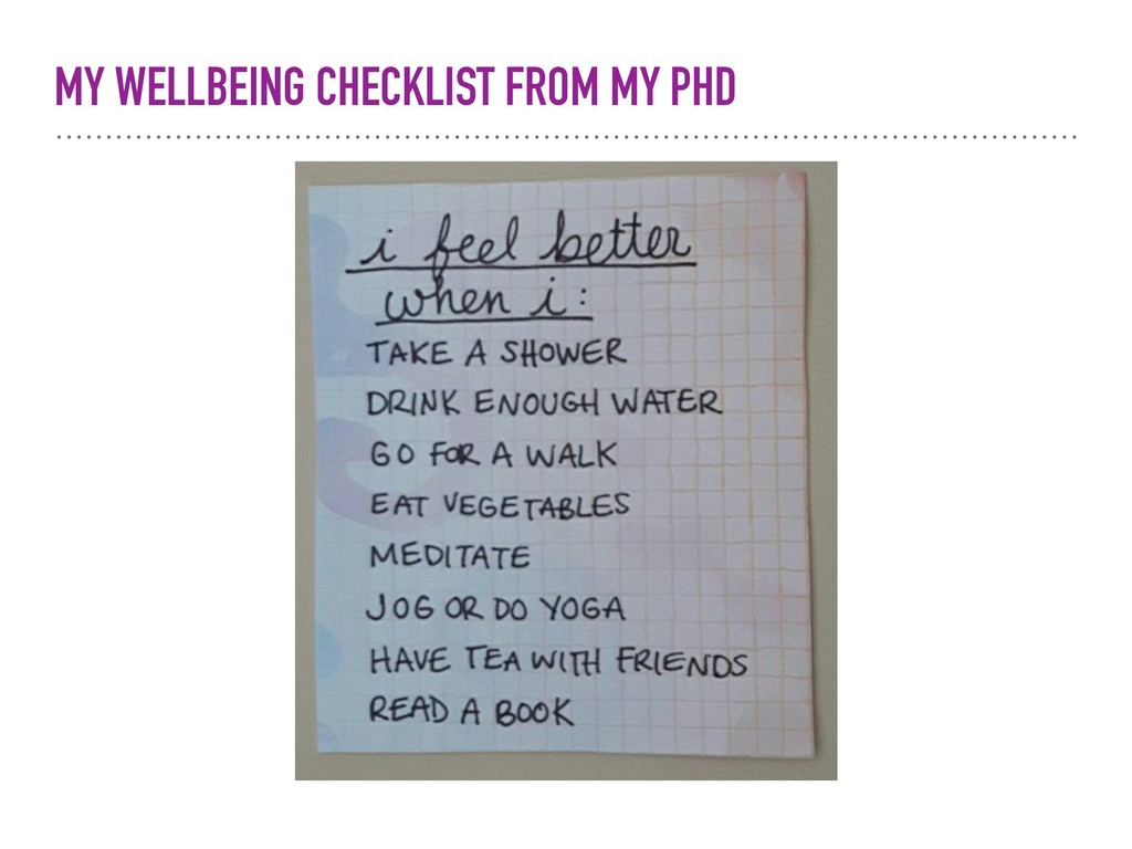 MY WELLBEING CHECKLIST FROM MY PHD