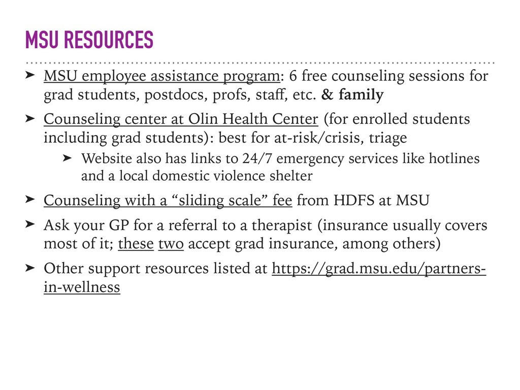 MSU RESOURCES ➤ MSU employee assistance program...
