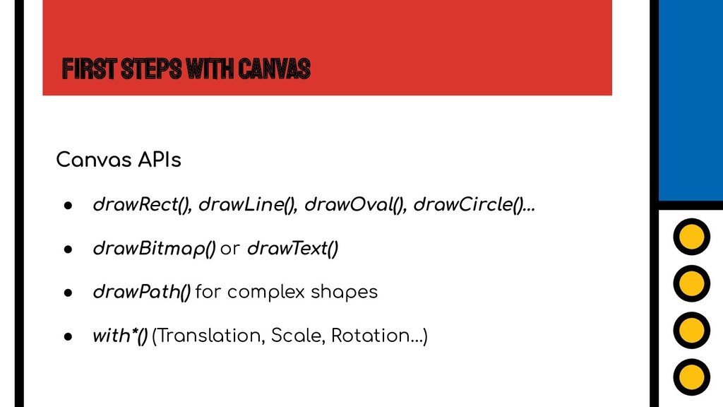 First Steps with Canvas Canvas APIs ● drawRect(...