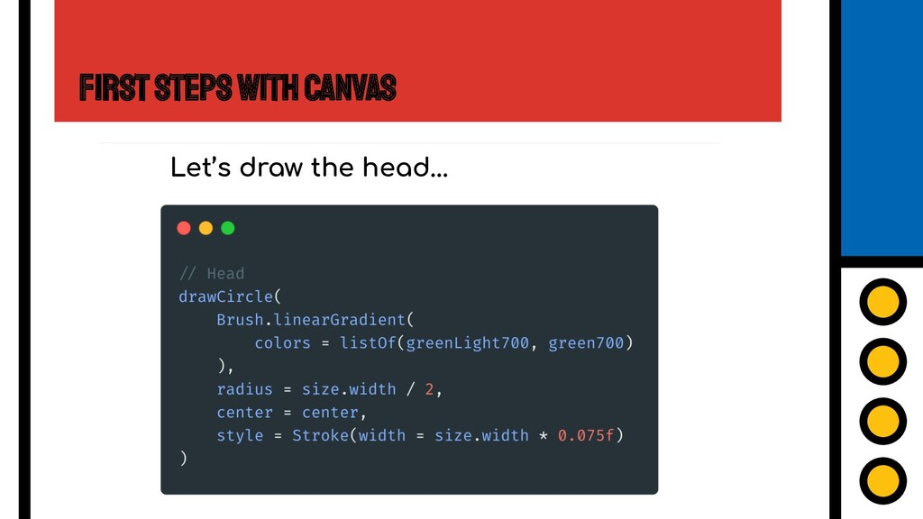 First Steps with Canvas Let's draw the head...