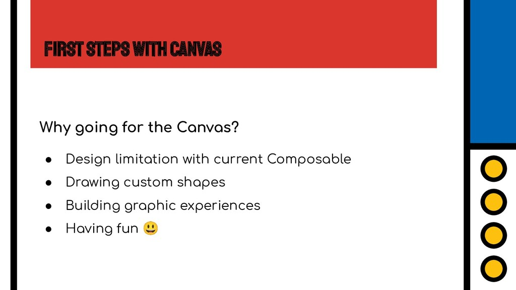 First Steps with Canvas Why going for the Canva...
