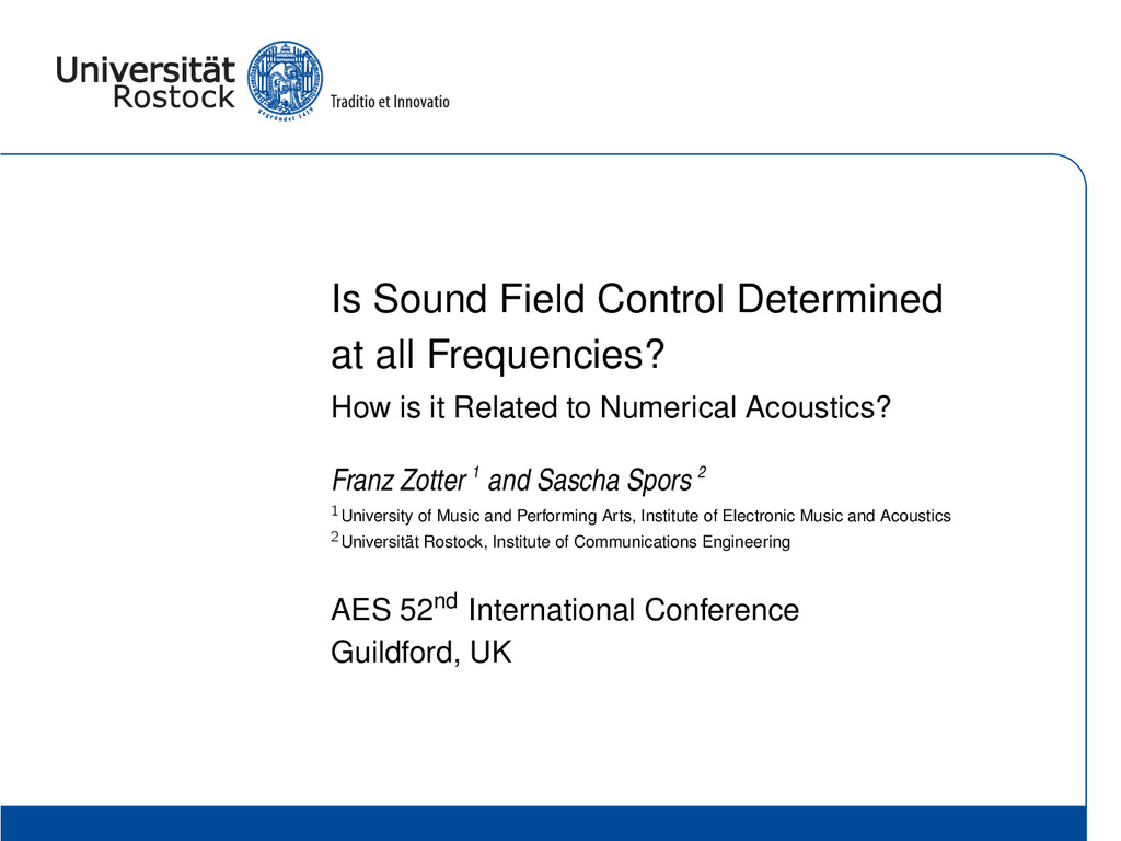 Is Sound Field Control Determined at all Freque...