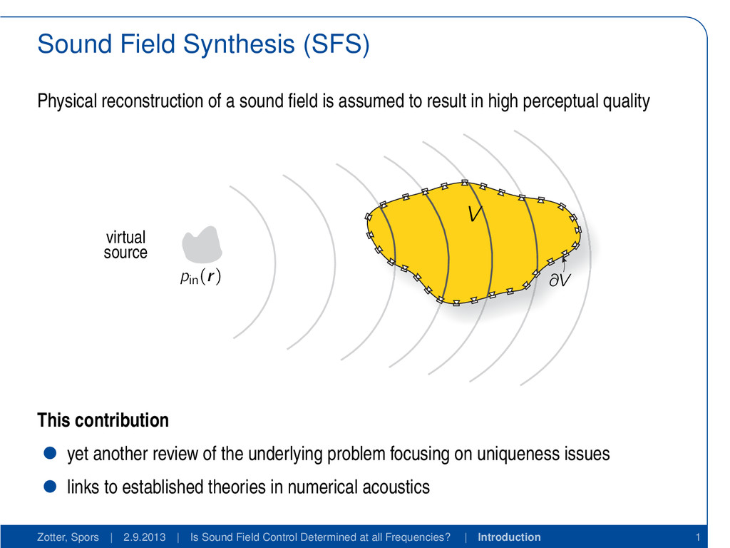 Sound Field Synthesis (SFS) Physical reconstruc...