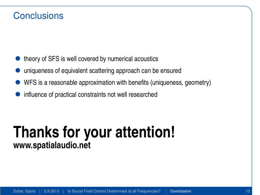 Conclusions theory of SFS is well covered by nu...
