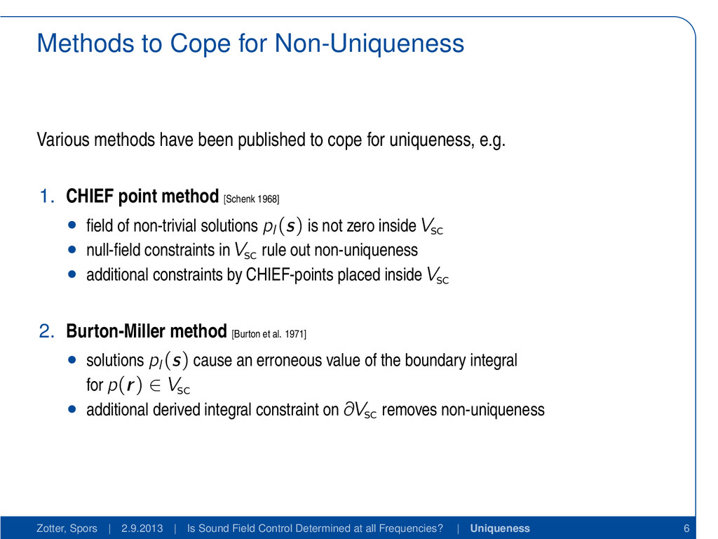 Methods to Cope for Non-Uniqueness Various meth...
