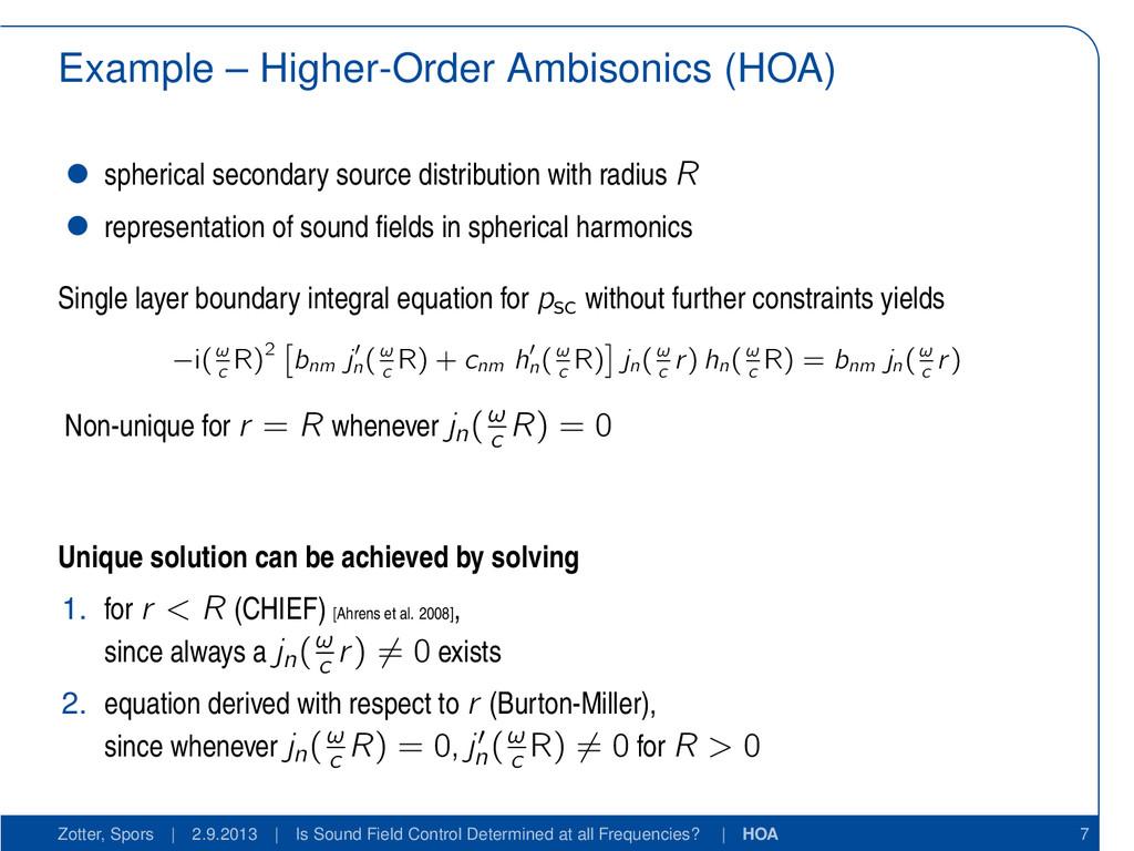 Example – Higher-Order Ambisonics (HOA) spheric...