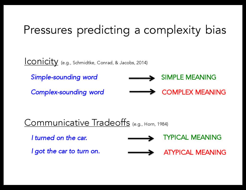Pressures predicting a complexity bias Communic...