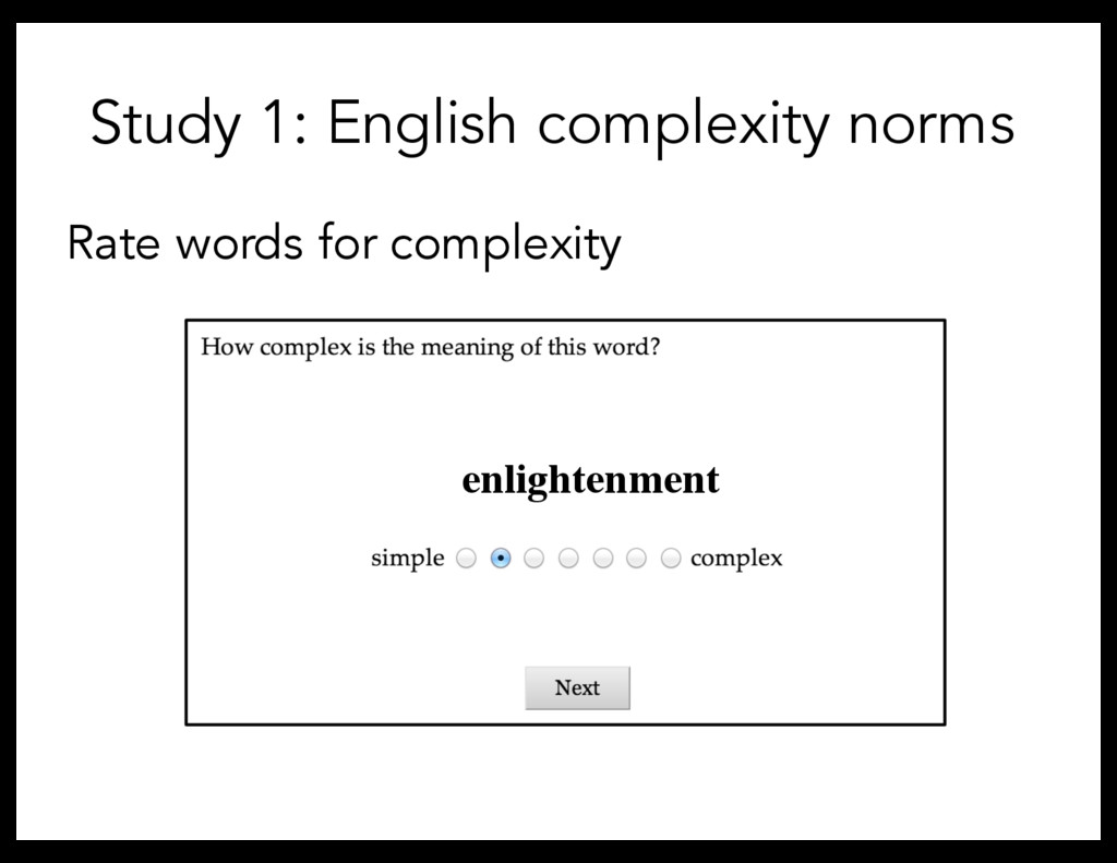 Study 1: English complexity norms Rate words fo...