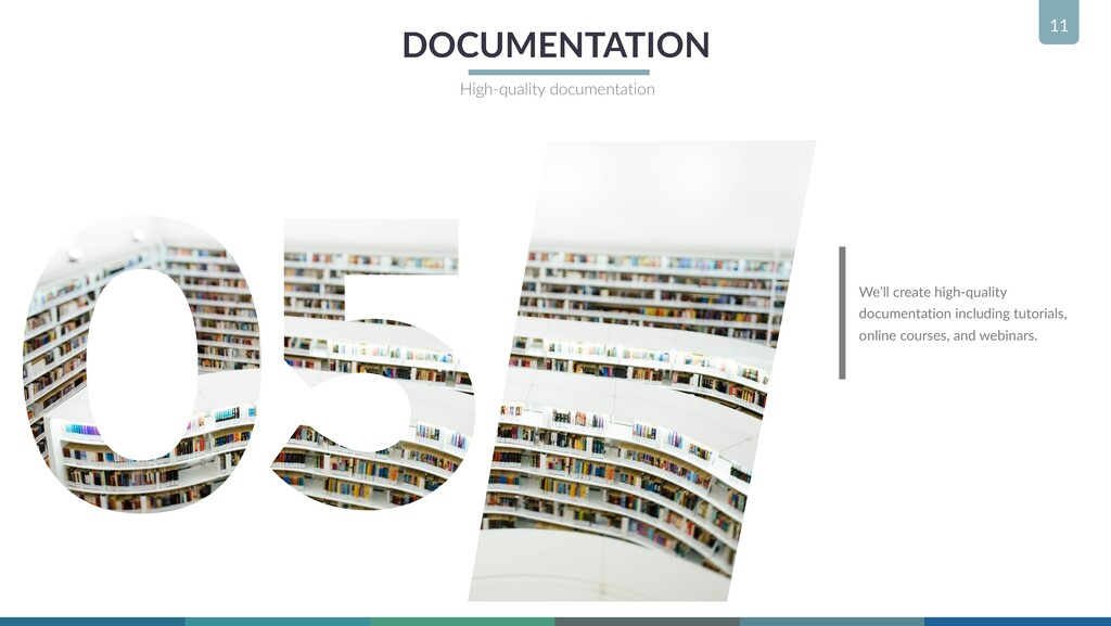 11 DOCUMENTATION High-quality documentation We'...
