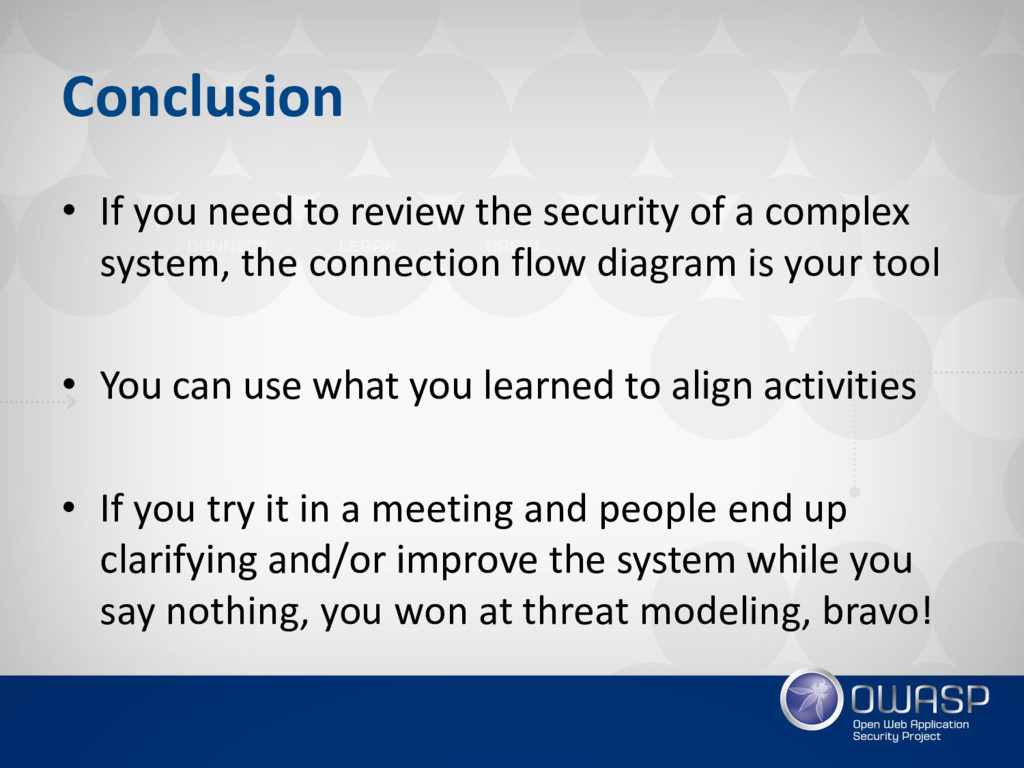 Conclusion • If you need to review the security...