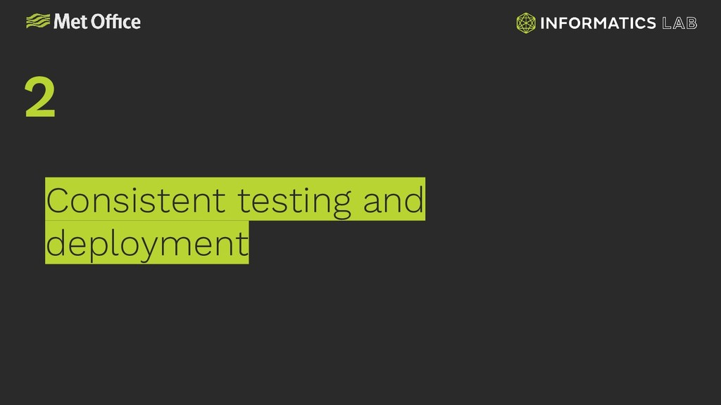 Consistent testing and deployment 2