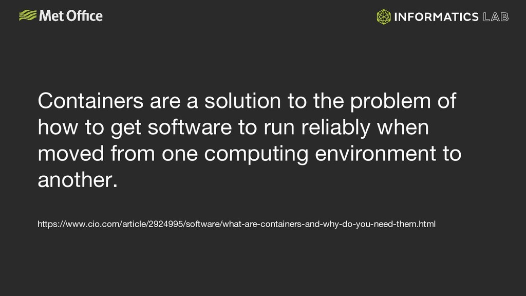 Containers are a solution to the problem of how...