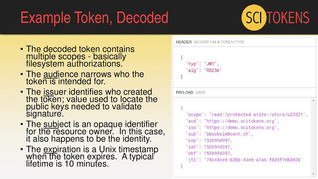 Example Token, Decoded • The decoded token cont...