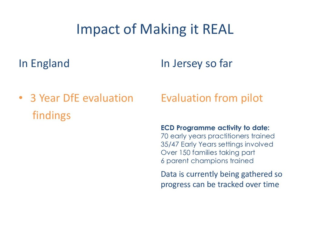 Impact of Making it REAL In England • 3 Year Df...