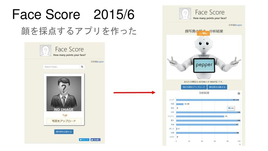 Face Score 2015/6 顔を採点するアプリを作った