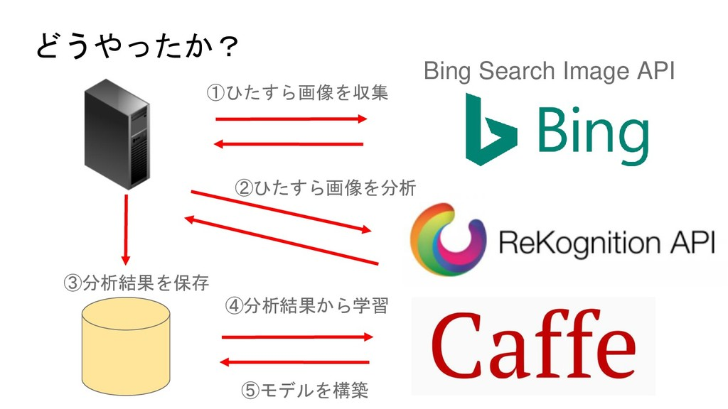 どうやったか? Bing Search Image API ①ひたすら画像を収集 ②ひたすら画...
