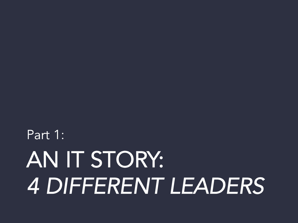AN IT STORY: 4 DIFFERENT LEADERS Part 1: