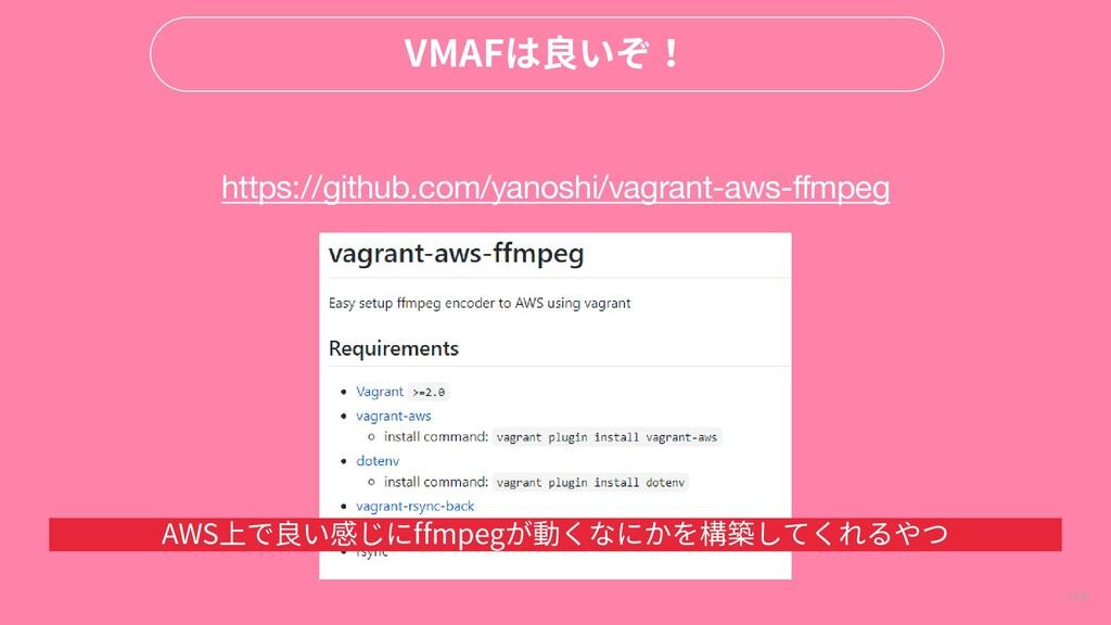 119 VMAFは良いぞ! https://github.com/yanoshi/vagran...