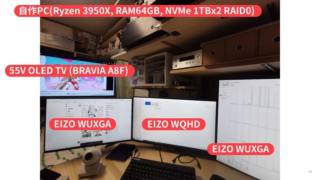 16 55V OLED TV (BRAVIA A8F) 自作PC(Ryzen 3950X, R...