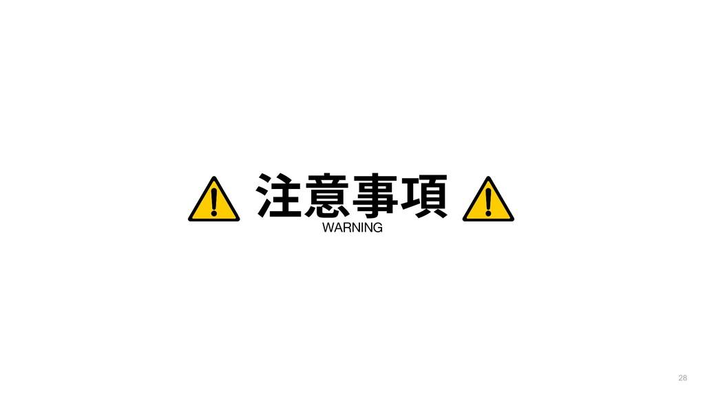 WARNING 注意事項 28