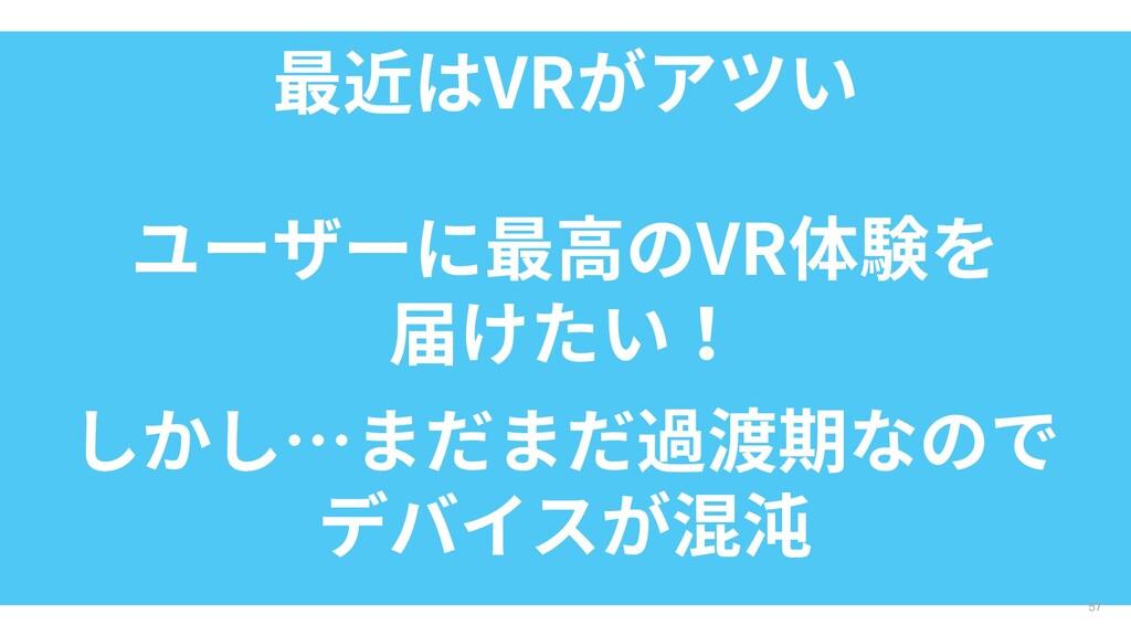 最近はVRがアツい 57 ユーザーに最高のVR体験を 届けたい! しかし…まだまだ過渡期なので...