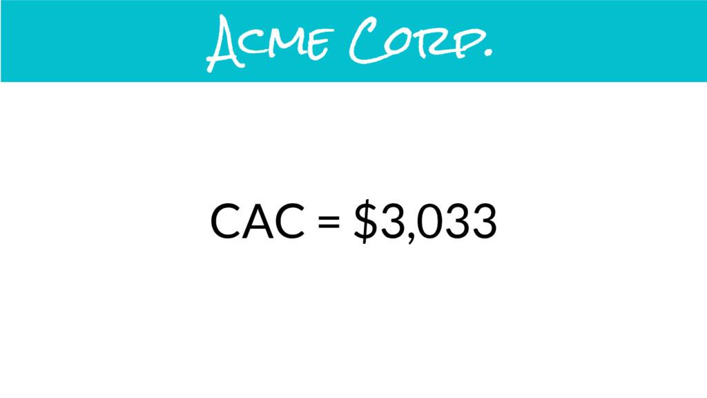 CAC = $3,033 Acme Corp.
