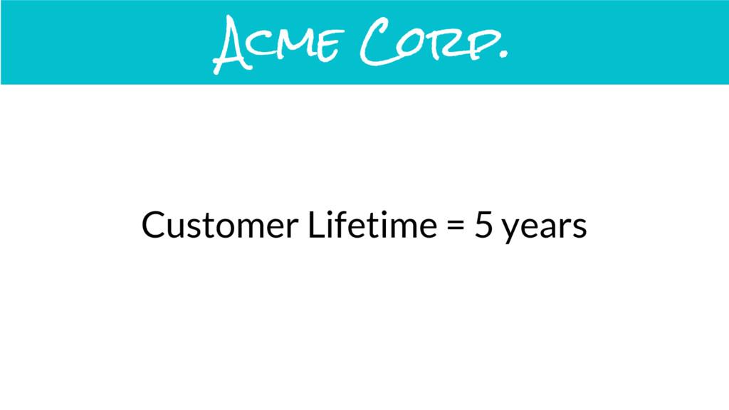 Customer Lifetime = 5 years Acme Corp.