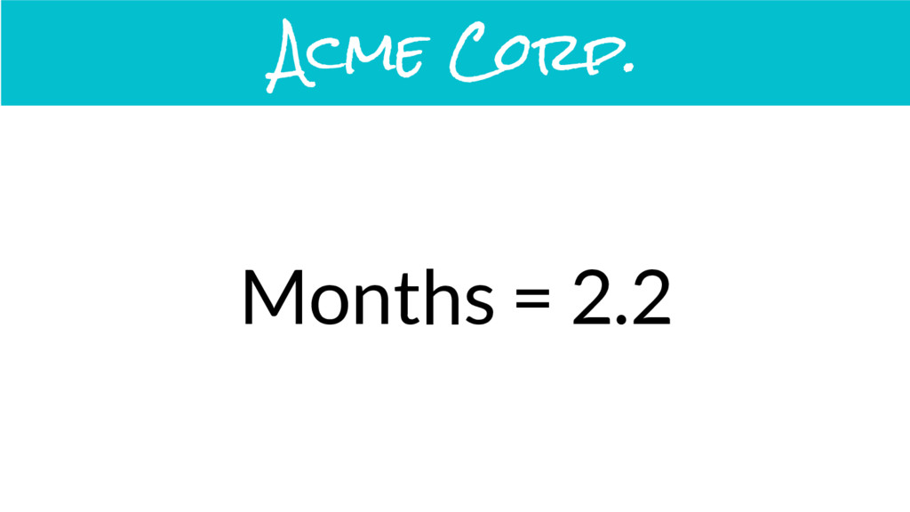 Months = 2.2 Acme Corp.
