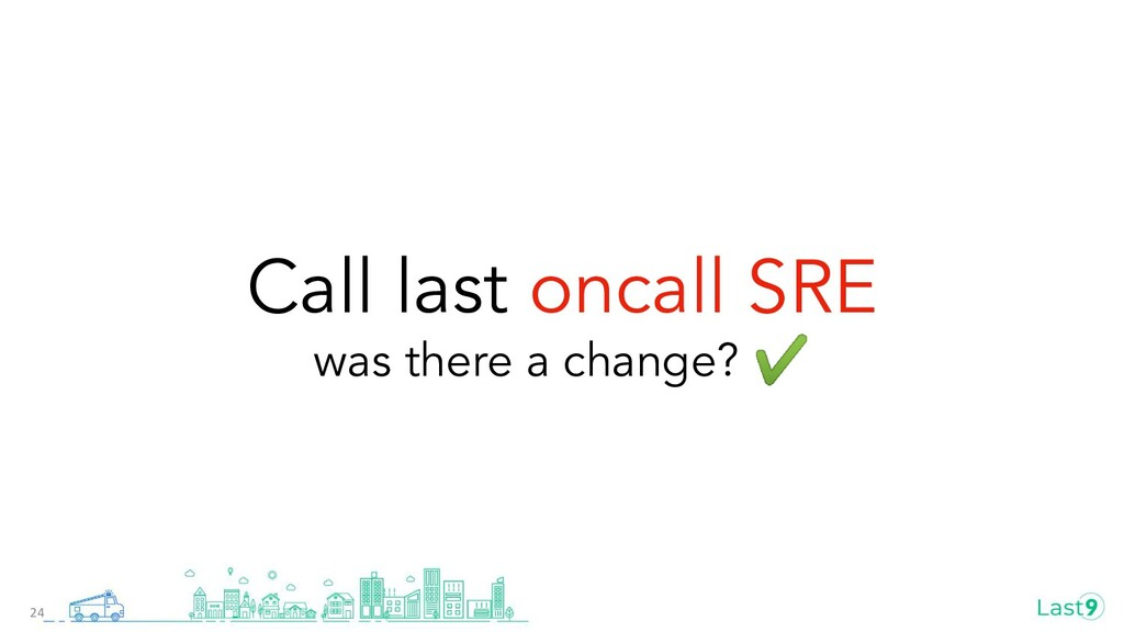 Call last oncall SRE was there a change? ✔ 24