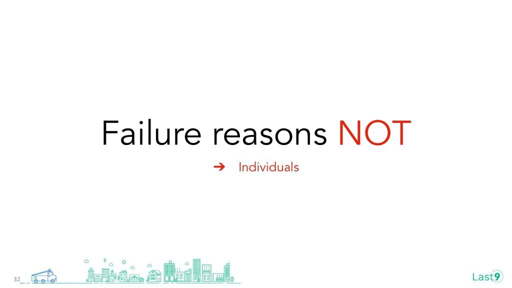 Failure reasons NOT ➔ Individuals 32