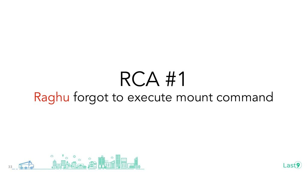 RCA #1 Raghu forgot to execute mount command 33