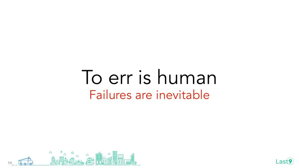 To err is human Failures are inevitable 59