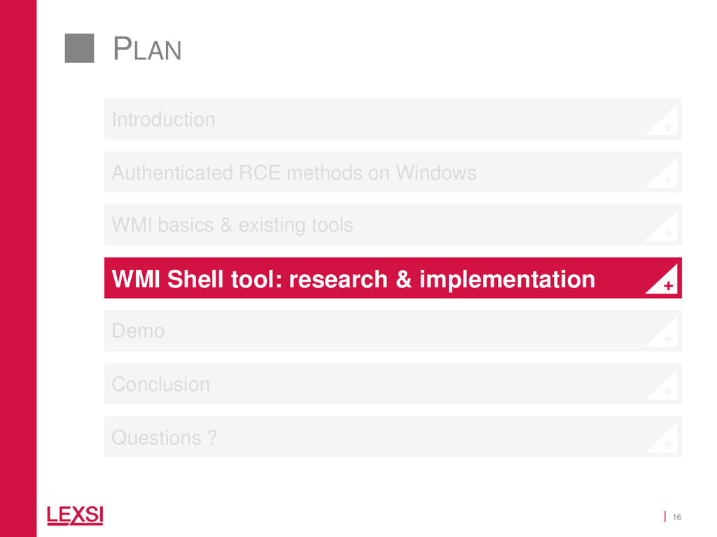 16 PLAN WMI basics & existing tools WMI Shell t...