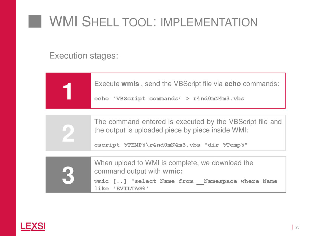 25 WMI SHELL TOOL: IMPLEMENTATION 2 The command...
