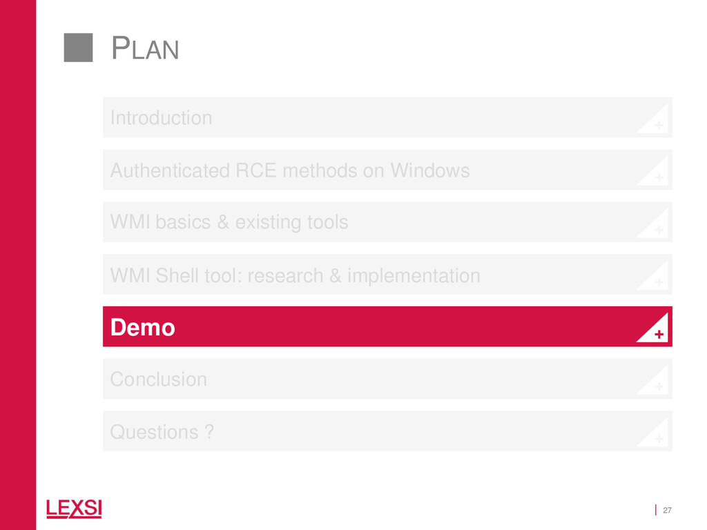 27 PLAN WMI basics & existing tools WMI Shell t...