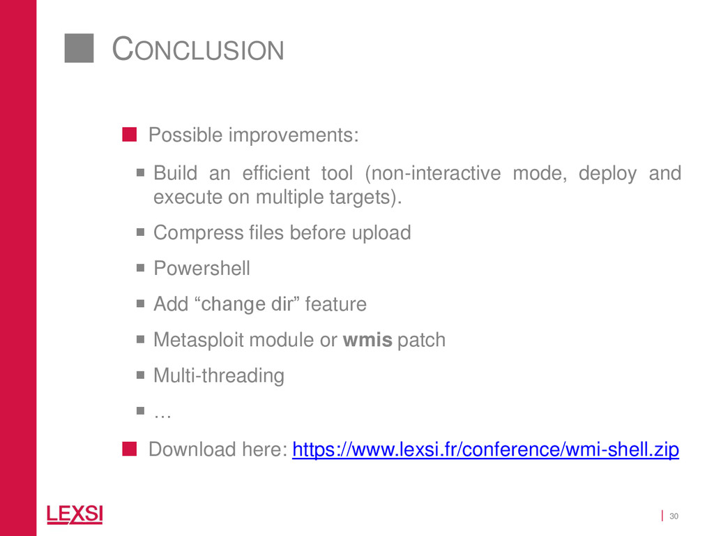 30 CONCLUSION  Possible improvements:  Build ...