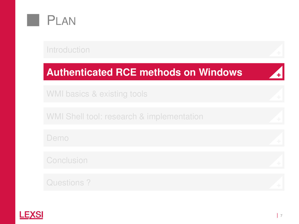 7 PLAN Introduction Authenticated RCE methods o...