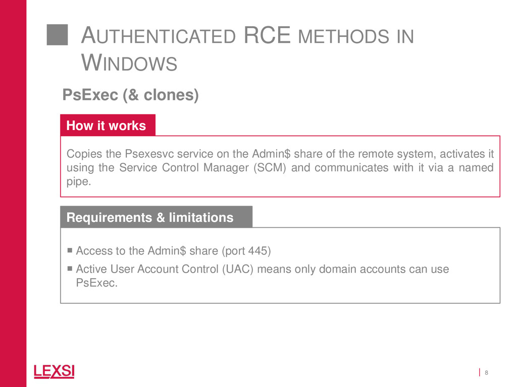 8 AUTHENTICATED RCE METHODS IN WINDOWS PsExec (...