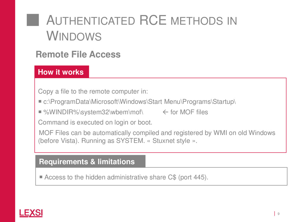 9 AUTHENTICATED RCE METHODS IN WINDOWS Remote F...