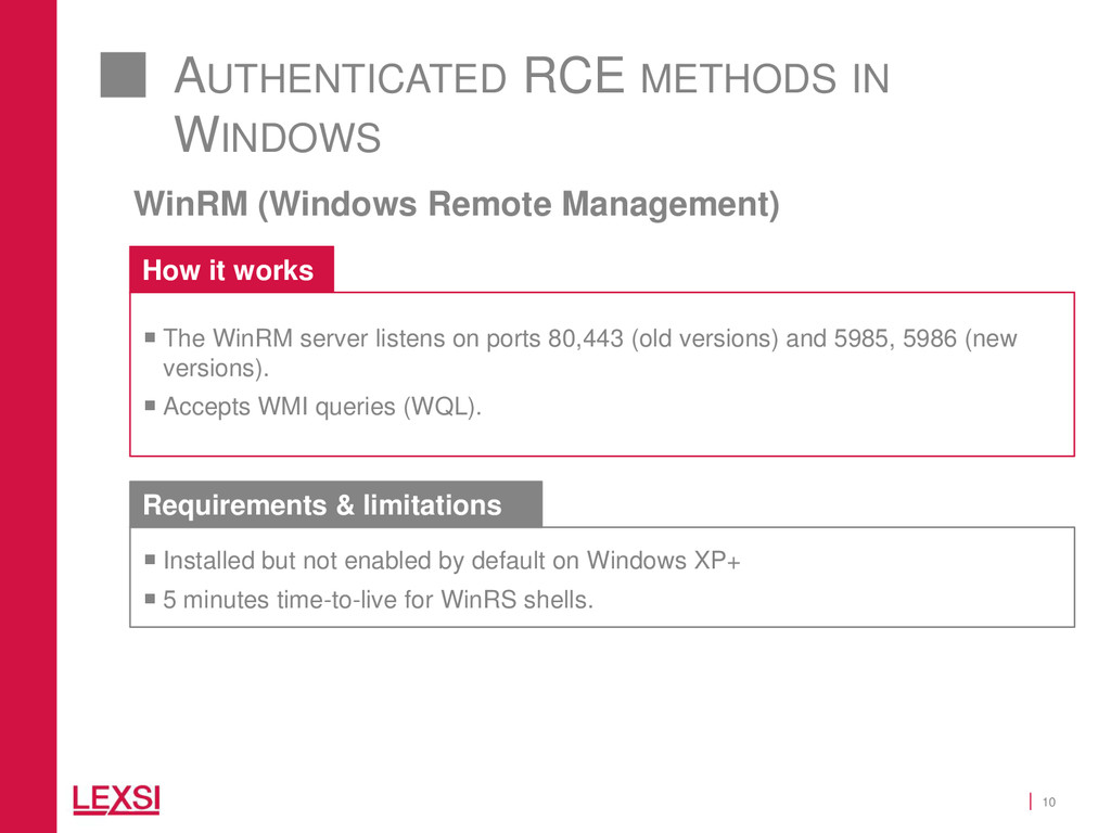 10 AUTHENTICATED RCE METHODS IN WINDOWS WinRM (...