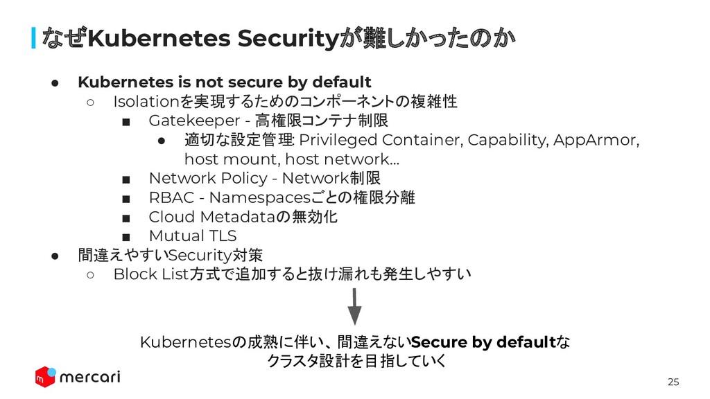 25 なぜKubernetes Securityが難しかったのか ● Kubernetes i...