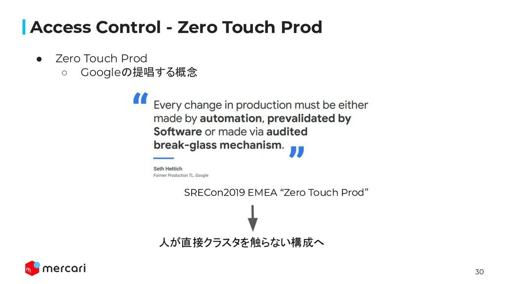 30 Access Control - Zero Touch Prod ● Zero Touc...