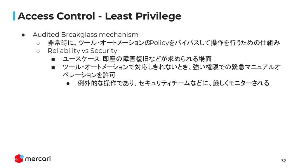 32 Access Control - Least Privilege ● Audited B...