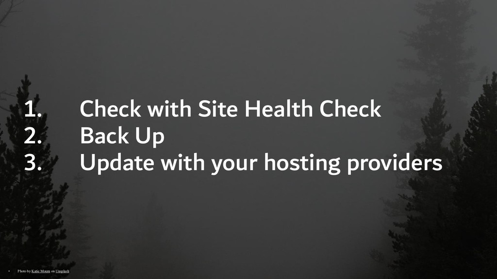 1. Check with Site Health Check 2. Back Up 3. U...